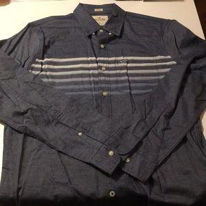 Hollister Blue Cotton Stretch Stripe Button-Up XL